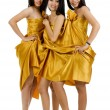 Three nude asians covered in silk — Stock Photo