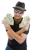 Man with lots of 100 dollar notes — Stock Photo