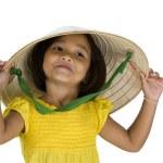 可爱亚洲农夫女孩白 — 图库照片