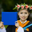 Asian student on her graduation day — Stock Photo