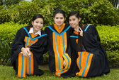 Asian students on their graduation day — Stock Photo