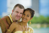 Caucasian and asian couple — Stock Photo