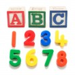 Plastic Numbers and Alphabet Blocks — Stock fotografie