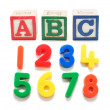 Plastic Numbers and Alphabet Blocks — Stock Photo