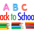 Color Pencils and Alphabets — Stock Photo