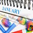 Calendar and Party Blowers — Stockfoto