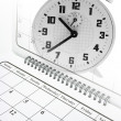 Calendar and Alarm Clock — Stock Photo