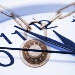 Clock and Combination Lock — Stock Photo
