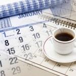 Calendar and Tea Ccup — Stock Photo