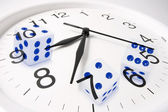 Clock and Dice — Stockfoto