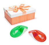 Gift Parcel and Face Masks — Stock Photo