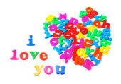 Alfabetos dispuestas en forma de corazón — Foto de Stock