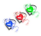 Hart symbolen in geschenkdozen — Stockfoto