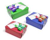 Caixas de presente com fitas — Foto Stock