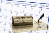 Titular de la página y pluma calendario — Foto de Stock
