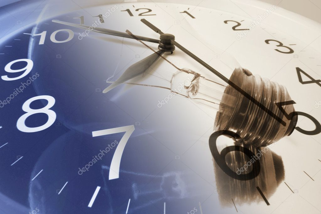 Composite of Clock and Light Bulb  Stock Photo #3216093