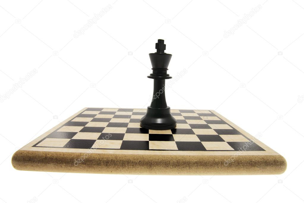 King Chess Piece on Chess Board on White Background — Stock Photo #3216532