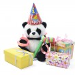 Toy Panda with Party Favors and Gift Boxes — Stock Photo #3249698