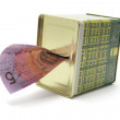Money Box with Five-Dollar Note — Stock Photo