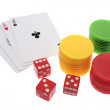 Stock Photo: Ace Cards with Dice and Poker Chips