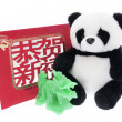 Toy Panda with Greeting Card and Jade Dragon — ストック写真
