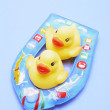 Rubber Ducks on Inflatable Boat — Stockfoto