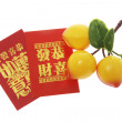 Peach Ornament and Red Packets — Stock Photo #3259421