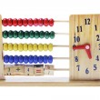 Wooden Children Abacus with Clock — Stock Photo