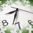 Jigsaw Puzzle Pieces and Clock — Foto Stock