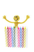 Smiley Figure and Birthday Candles — Stock Photo