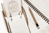 Agenda e calendário de mesa — Foto Stock