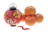 Mandarins and Lantern — Stock Photo