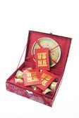 Chinese Tea Set and Red Packets — Stock Photo