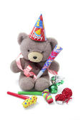 Teddy Bear with Party Favors — Stock Photo