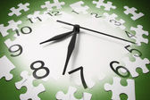 Jigsaw Puzzle Pieces and Clock — Stock Photo