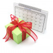 Calendar and Gift Box — Stock Photo
