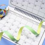 calendario con favores de partido — Foto de Stock