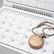 Stock Photo: Pocket Watch on Calendar