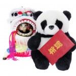 Soft Toy Panda and Lion Dance Figurine — Stock Photo