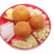Mandarins and Chinese New Year Delicacies — Stock Photo #3264590