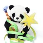 yumuşak oyuncak panda ile iyilik parti — Stok fotoğraf