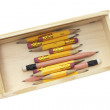 Pencils in Wooden Case — Stock Photo