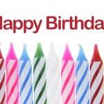 rij van birthday kaarsen — Stockfoto