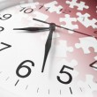 Jigsaw Puzzles and Clock — Stock Photo