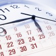 Stock Photo: Clock Face and Calendar