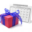 Gift Box and Calendar — Stock Photo
