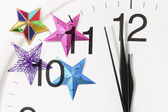 Relógio e enfeites de natal — Fotografia Stock