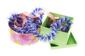 Gift Boxes with Tinsel and Curling Ribbon — Stock Photo