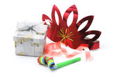Gift Box with Party Favors — Stock Photo