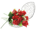 Red Roses in Heart-Shaped Metal Box — Stock Photo